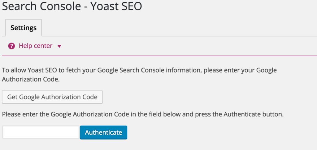 Yoast - Get Google Authorization Code
