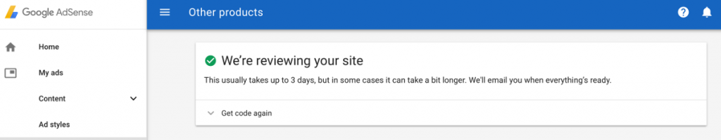 Adsense Site under Review