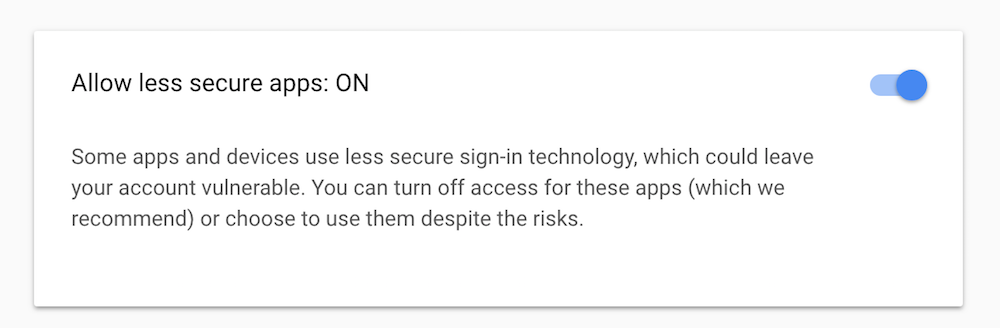Google Allow Less Secure Apps