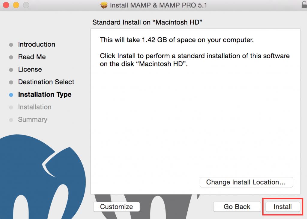 MAMP Installation Type