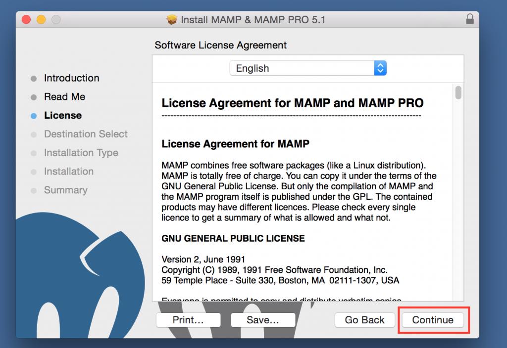 MAMP Installer License