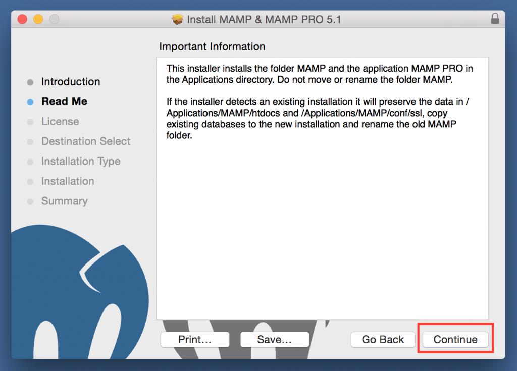 MAMP Installer Read Me