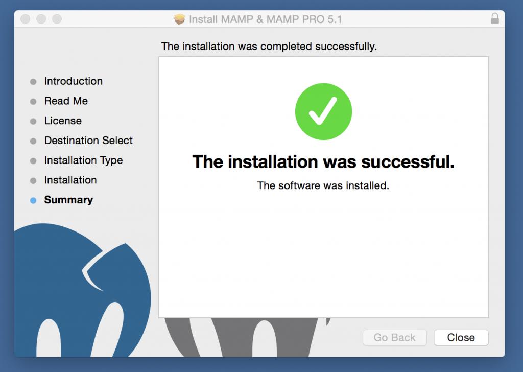 MAMP Installer Summary