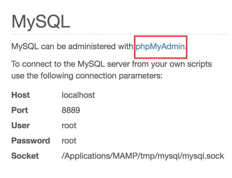 MAMP phpAdmin tool