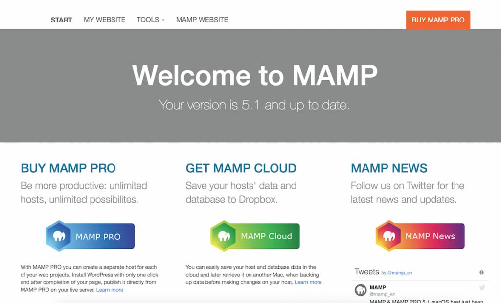 MAMP Web Start Page