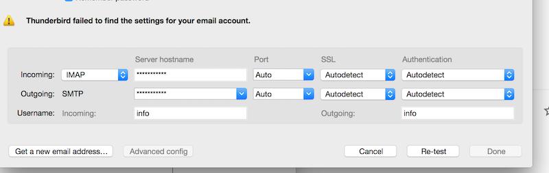 Thunderbird Email Account Configuration Settings