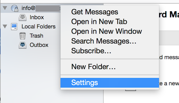 Thunderbird Email Account Settings