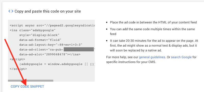 AdSense Ad Unit Code Fragment