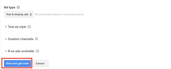Google Adsense Ad Options