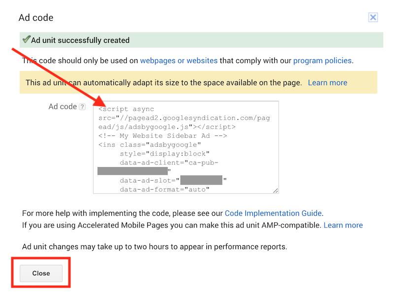 Google Adsense Get Ad Unit Code