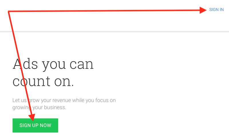 Google Adsense Homepage