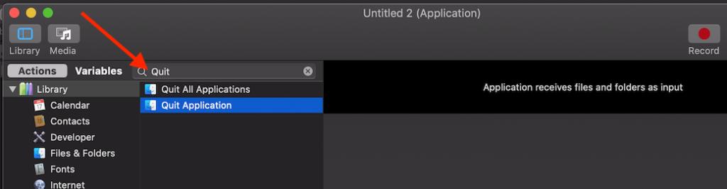 Automator - Quit Application
