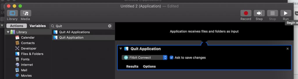 Automator - Quit Fitbit Action