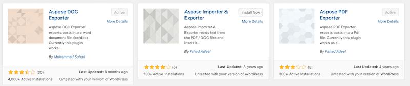 Apose Exporter Plugins
