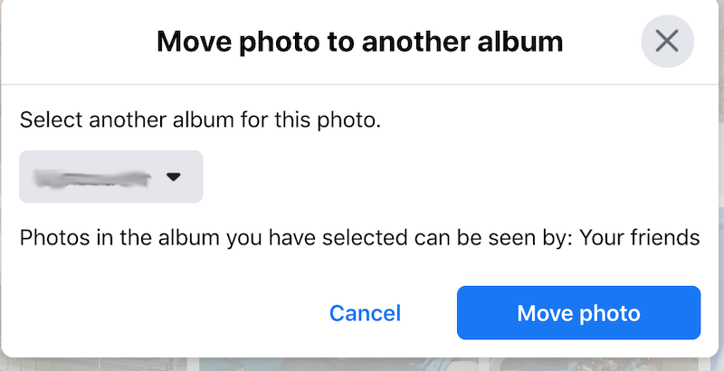 Facebook move to another album